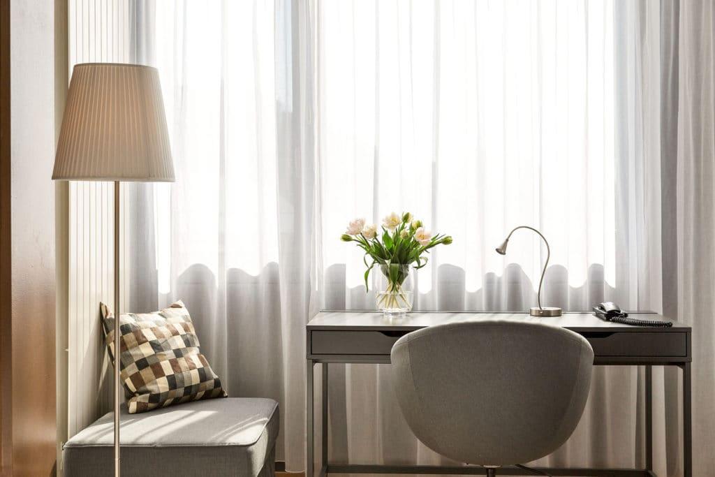 desks in room at La Pergola Hotel